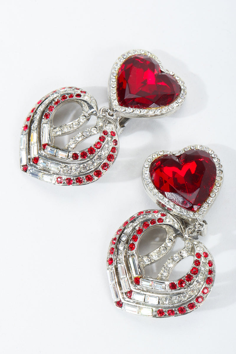 Vintage Tara Ruby Heart Drop Earrings at Recess Los Angeles
