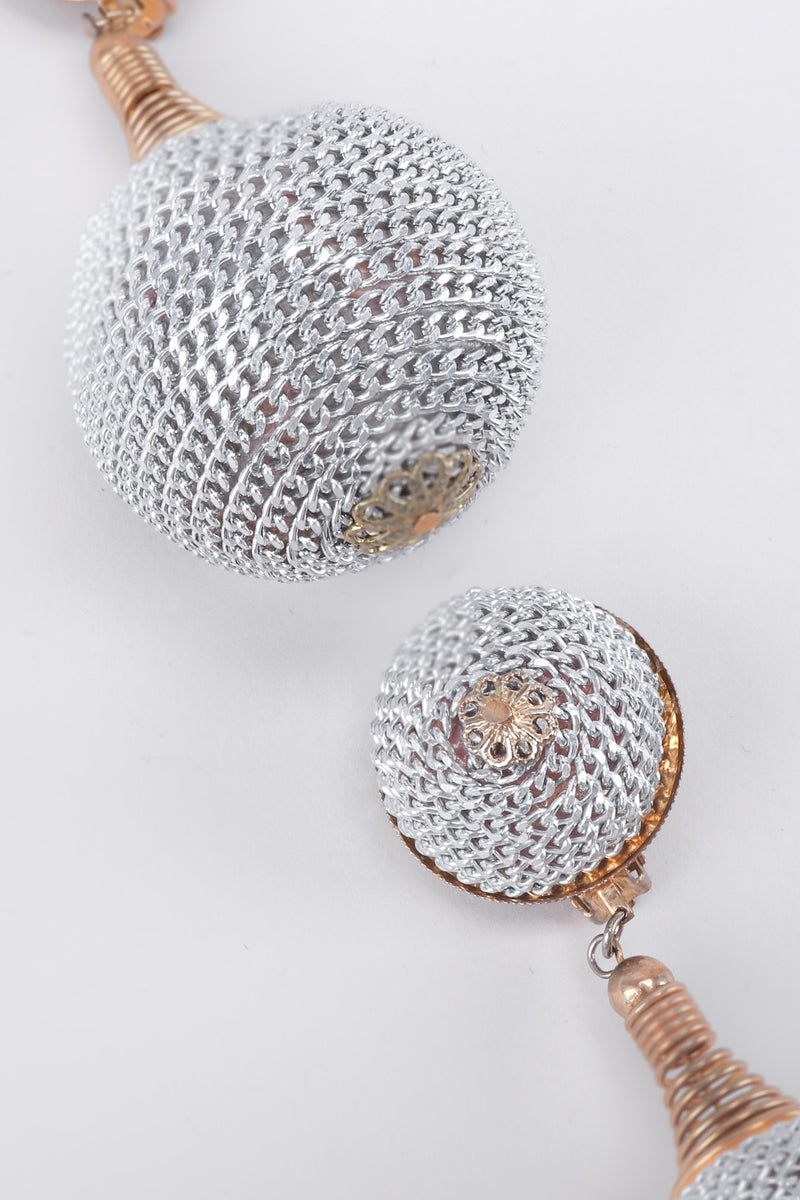 Vintage Silver Chain Wrapped Ball Drop Earrings