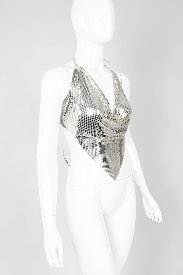 Vintage Whiting & Davis Ferrara Liquid Mercury Metal Mesh Halter Top on mannequin, angled