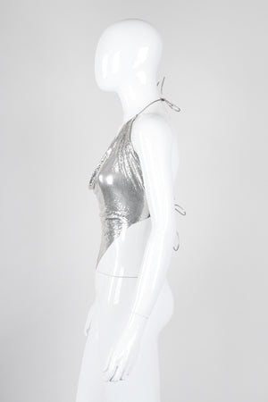 Recess Los Angeles Vintage Unsigned Liquid Mercury Silver Chrome Mesh Halter Top Whiting Davis