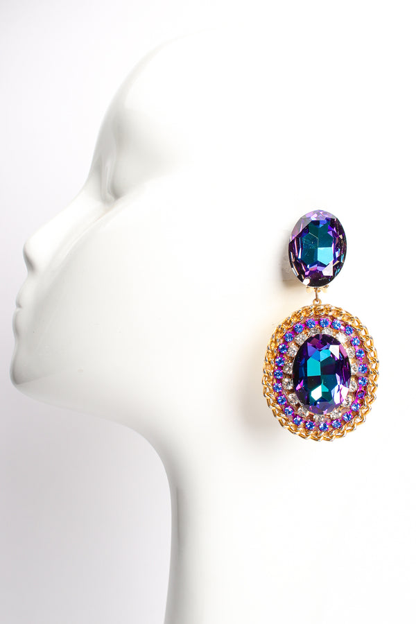 Vintage Oversized Iridescent Crystal Rhinestone Wrapped Earrings on Mannequin at Recess Los Angeles