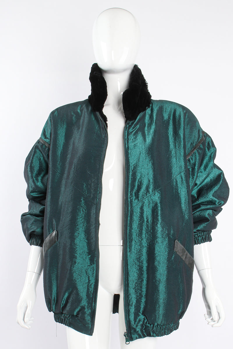 Vintage Geometric Fur Reversible Metallic nylon Bomber on Mannequin front at Recess Los Angeles