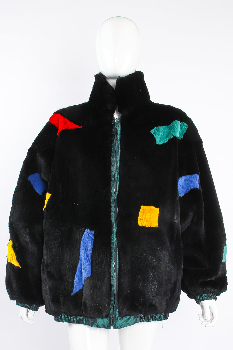 Vintage Geometric Fur Reversible Bomber on Mannequin front at Recess Los Angeles