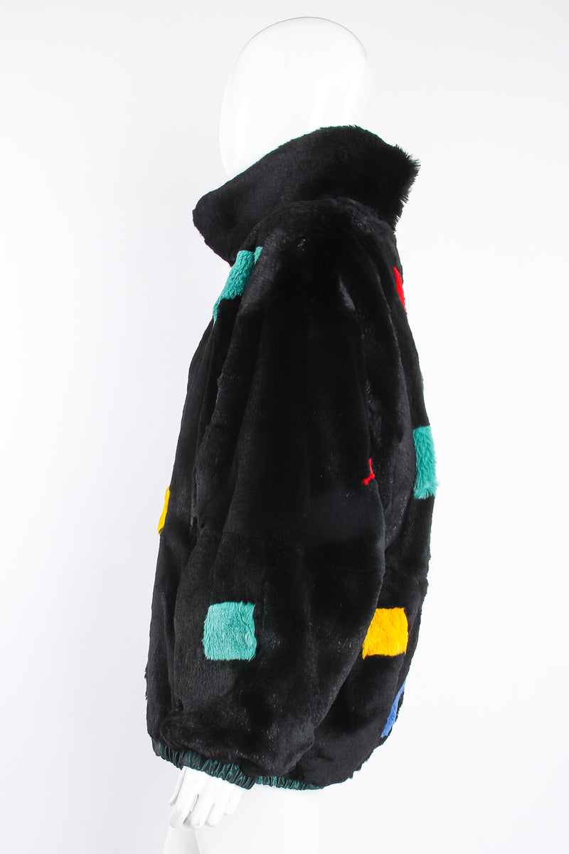 Vintage Geometric Fur Reversible Bomber on Mannequin side at Recess Los Angeles