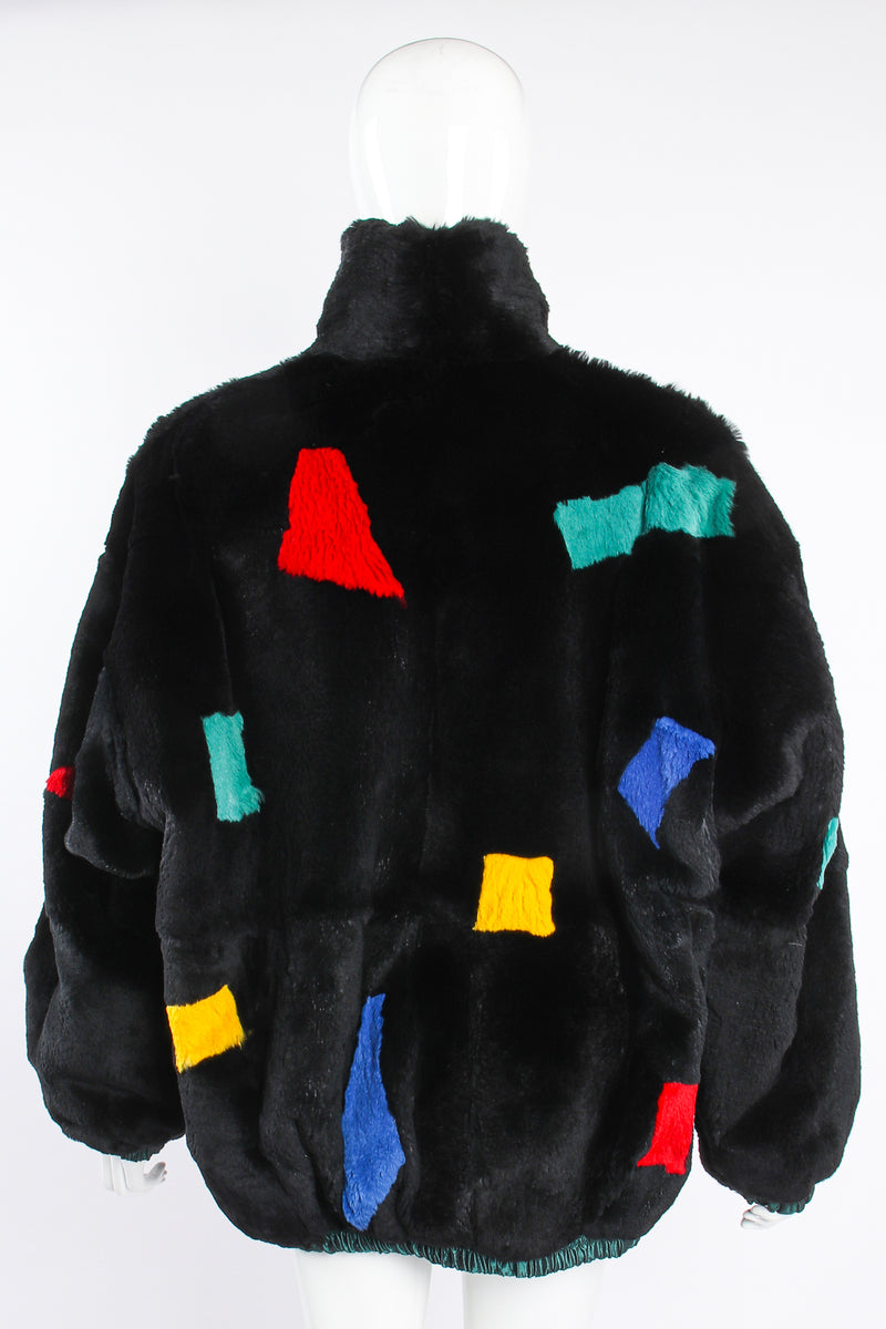 Vintage Geometric Fur Reversible Bomber on Mannequin back at Recess Los Angeles