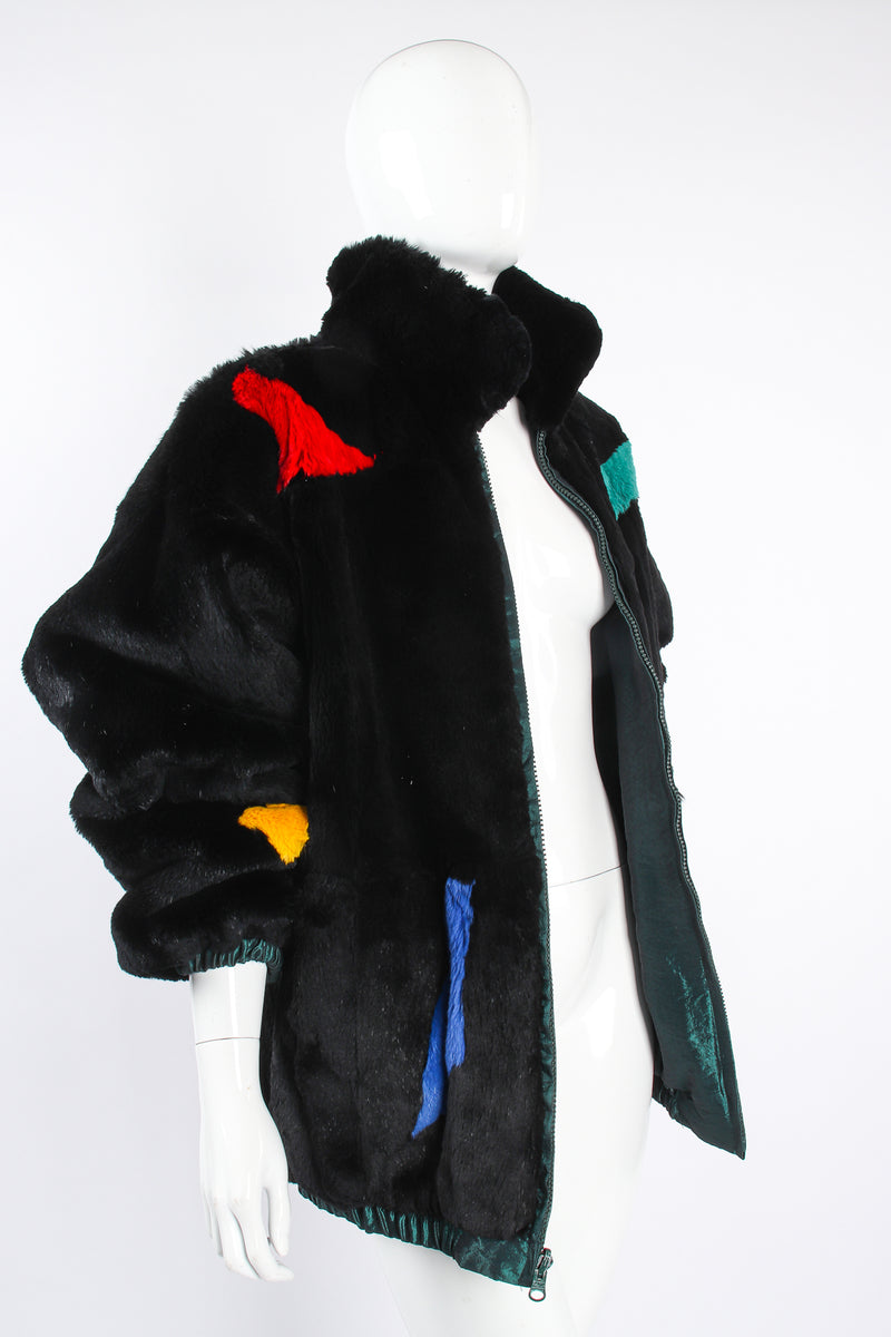 Vintage Geometric Fur Reversible Bomber on Mannequin angle open at Recess Los Angeles