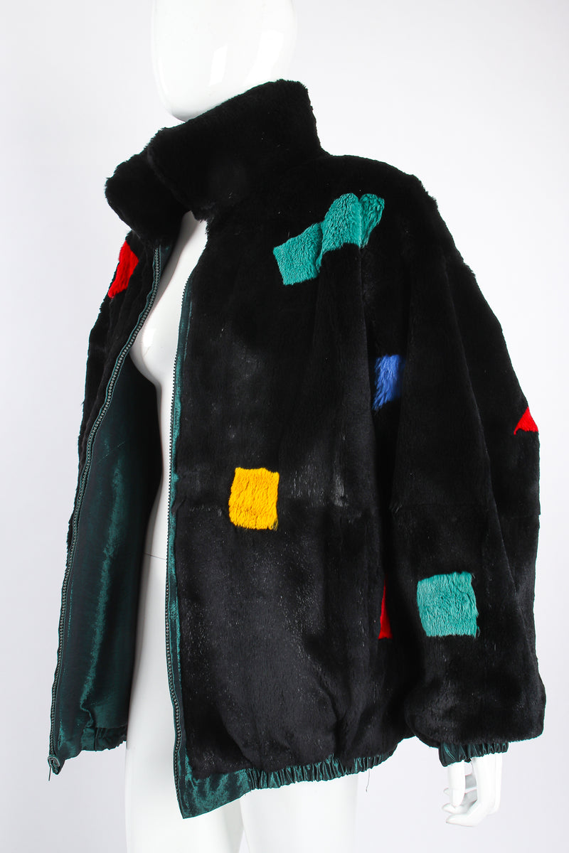 Vintage Geometric Fur Reversible Bomber on Mannequin angle at Recess Los Angeles