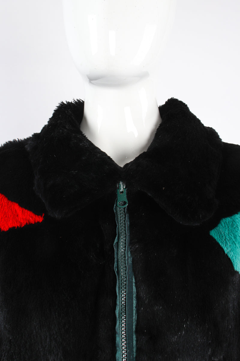 Vintage Geometric Fur Reversible Bomber on Mannequin collar at Recess Los Angeles