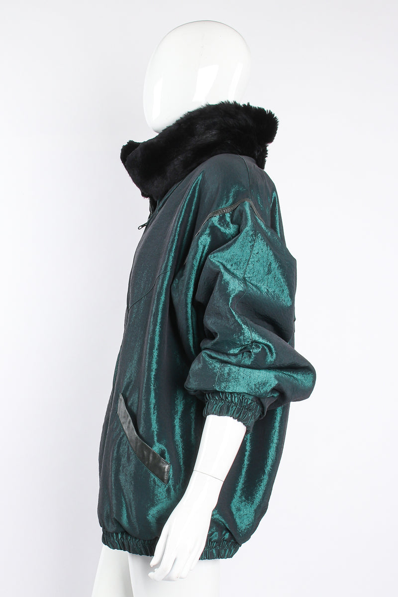 Vintage Geometric Fur Reversible Metallic nylon Bomber on Mannequin side at Recess Los Angeles