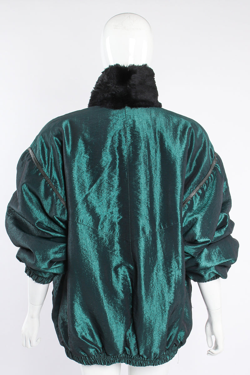 Vintage Geometric Fur Reversible Metallic nylon Bomber on Mannequin back at Recess Los Angeles