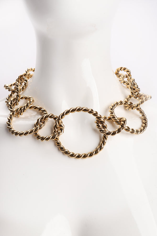 Vintage Antiqued Gold Braided Ring Collar Necklace on Mannequin at Recess Los Angeles