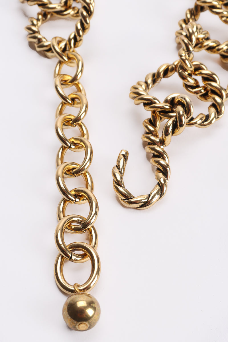 Vintage Antiqued Gold Braided Ring Collar Necklace Hook Clasp at Recess Los Angeles