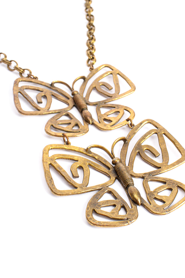 Vintage Brass Double Butterfly Necklace at Recess Los Angeles