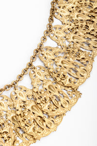 Vintage Filigree Plate Collar Necklace close up at Recess Los Angeles
