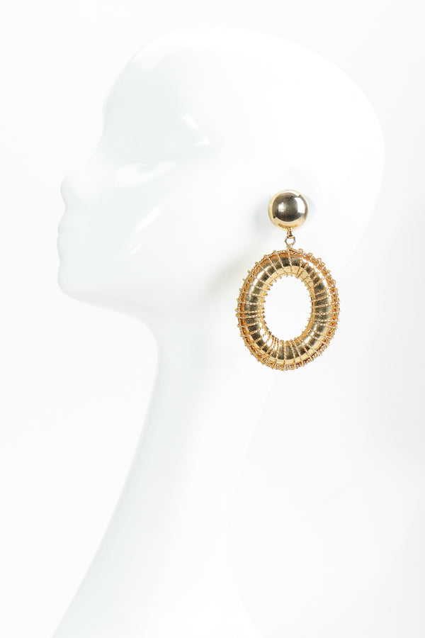 Vintage Gold Wire Wrap Hoop Drop Earrings on Mannequin at Recess Los Angeles
