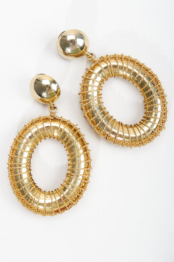 Vintage Gold Wire Wrap Hoop Drop Earrings at Recess Los Angeles