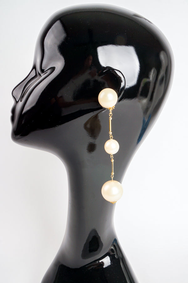 Vintage Long Pearl Drop Earrings on Mannequin at Recess Los Angeles