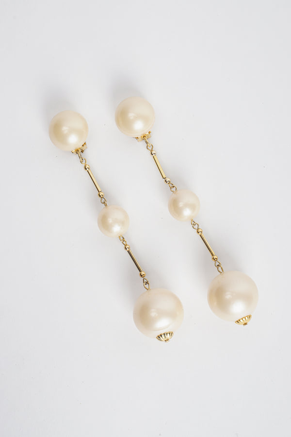 Vintage Long Pearl Drop Earrings at Recess Los Angeles
