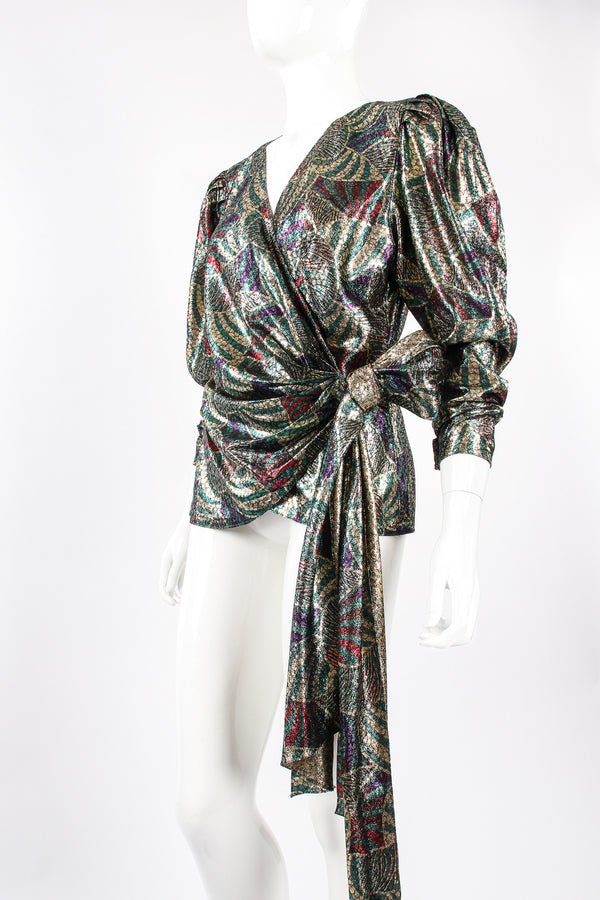 Vintage Metallic Mardi Gras Wrap Blouse on Mannequin crop at Recess Los Angeles