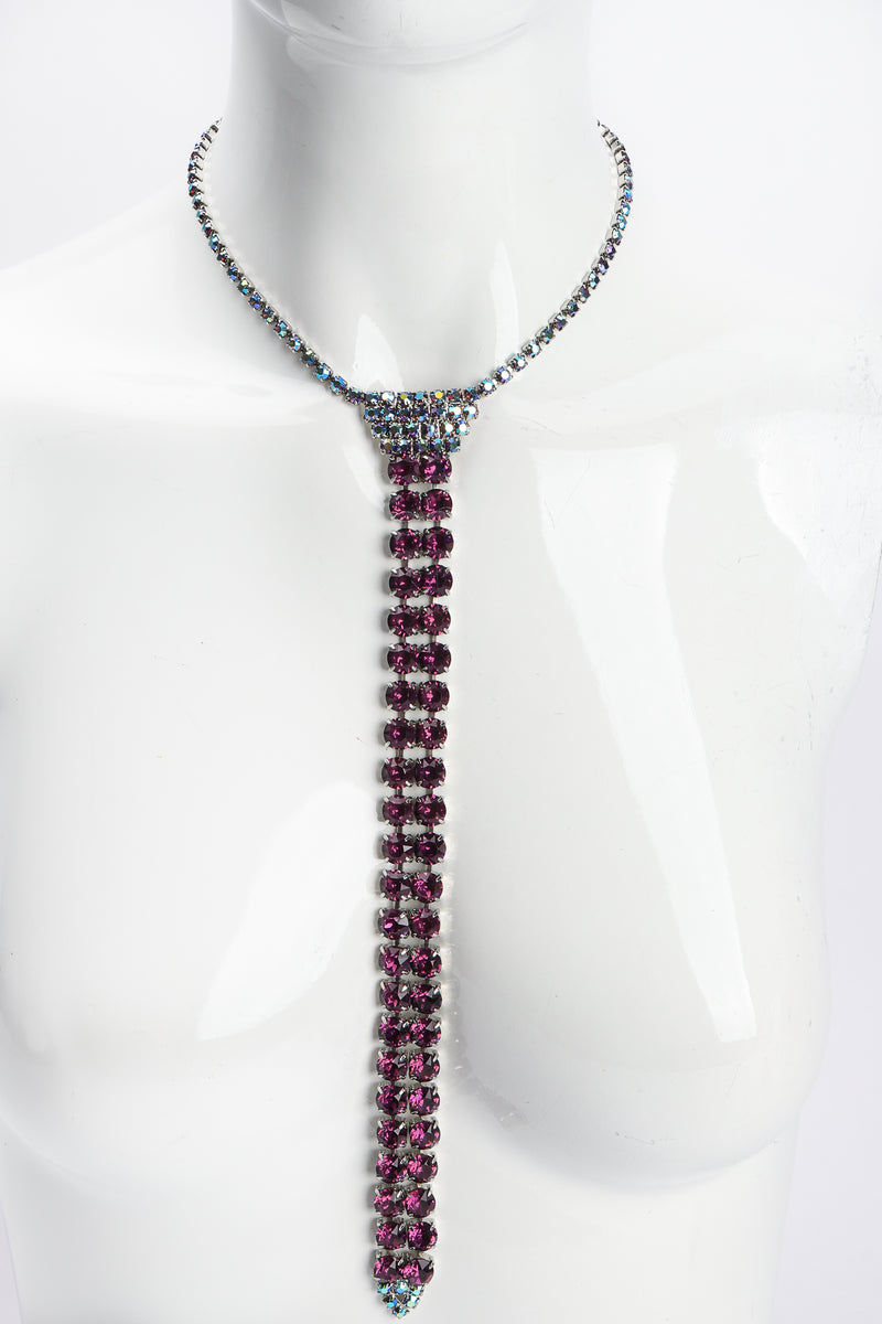 Vintage Iridescent Crystal Necktie Necklace on Mannequin at Recess Los Angeles