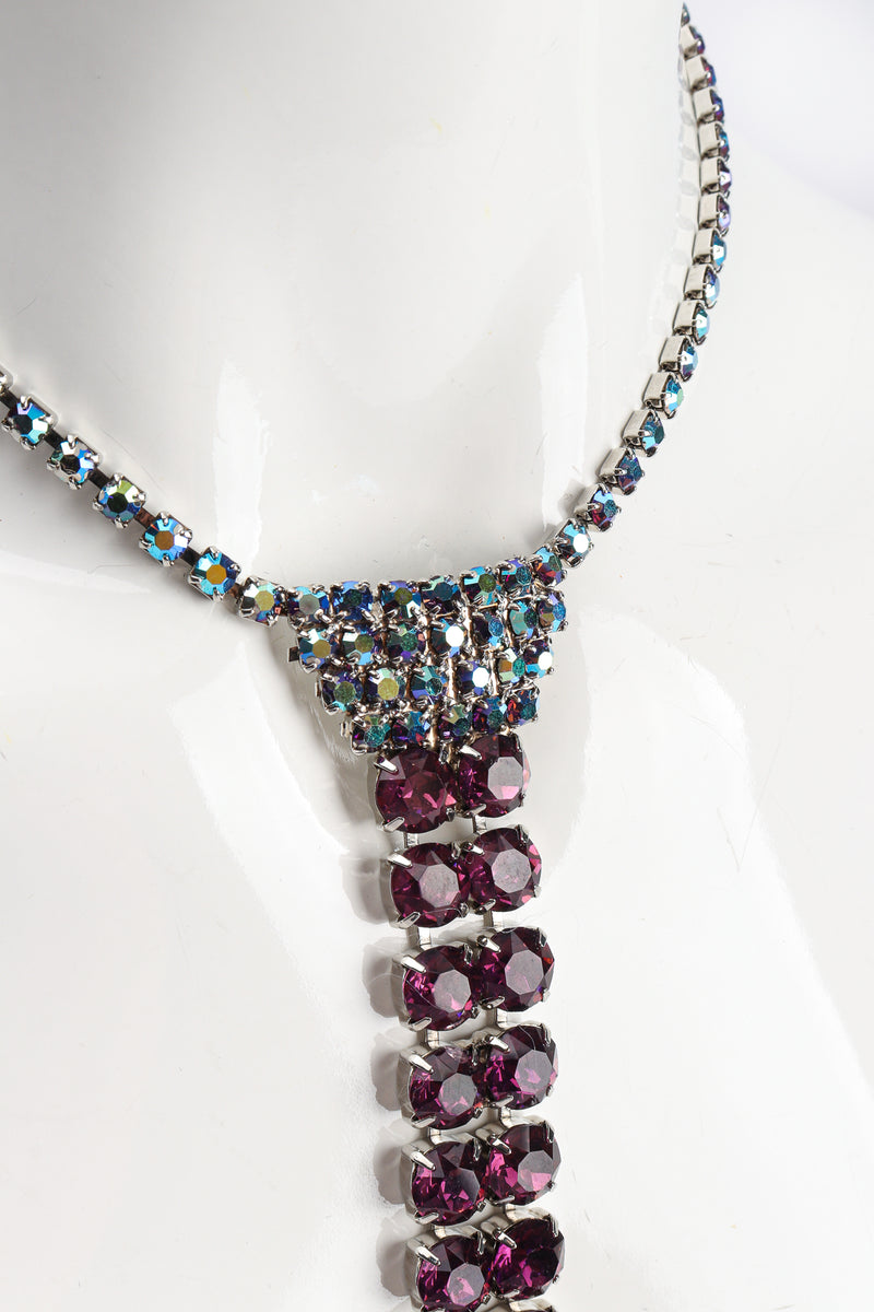 Vintage Iridescent Crystal Necktie Necklace on Mannequin close at Recess Los Angeles