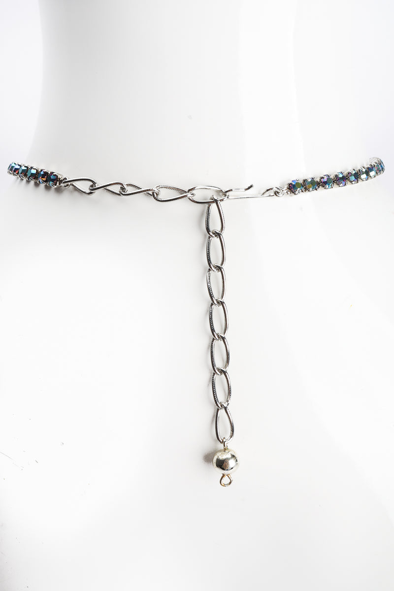 Vintage Iridescent Crystal Necktie Necklace clasp at Recess Los Angeles