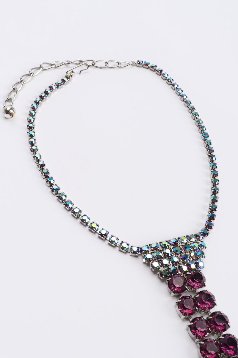 Vintage Iridescent Crystal Necktie Necklace details at Recess Los Angeles