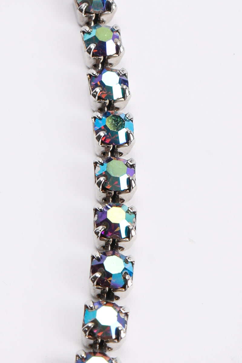 Vintage Iridescent Crystal Necktie Necklace stone detail at Recess Los Angeles