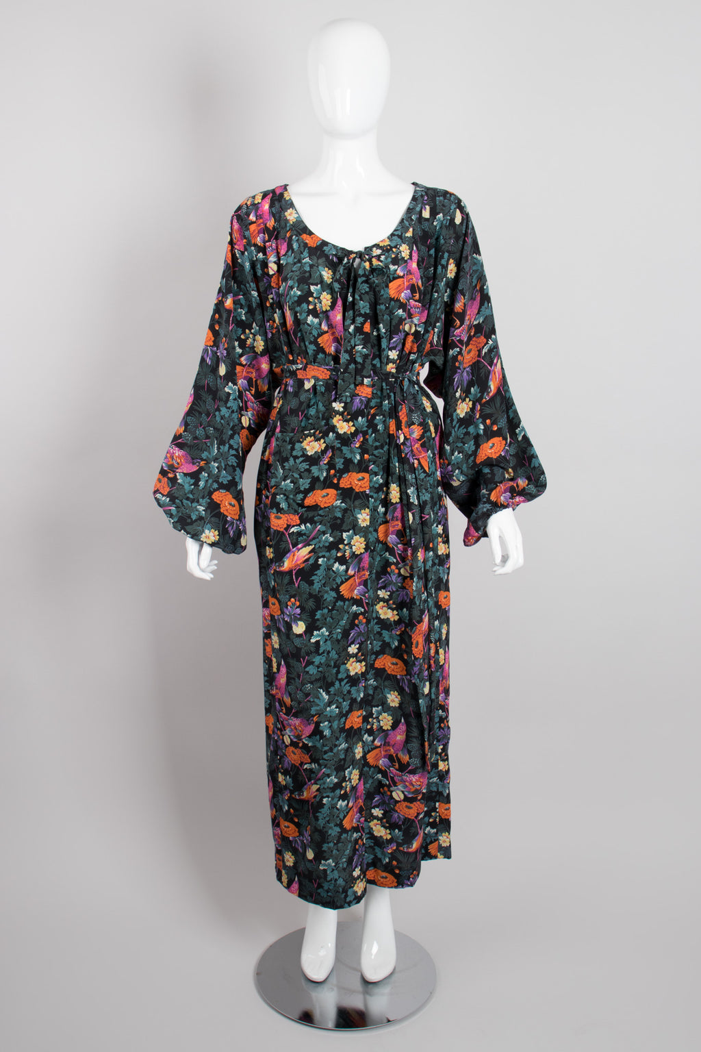 Hanae Mori Silk Sparrow Finch Floral Birds of Paradise Dress