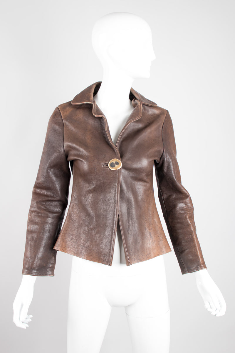 Neely Mack Design SF Distressed Shrunken Leather Aviator Blazer