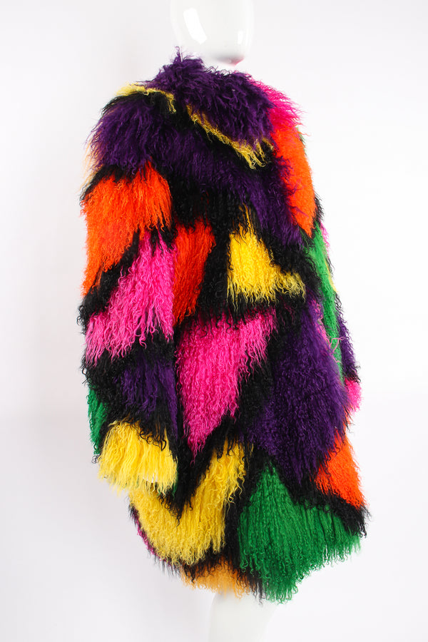 Vintage Neiman Marcus Rainbow Mosaic Mongolian Fur Coat on mannequin crop at Recess Los Angeles