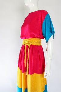 Vintage Neiman Marcus Silk Tiered Top & Skirt Set on Mannequin Angle at Recess Los Angeles