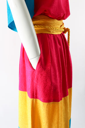 Vintage Neiman Marcus Silk Tiered Top & Skirt Set on Mannequin pockets at Recess Los Angeles