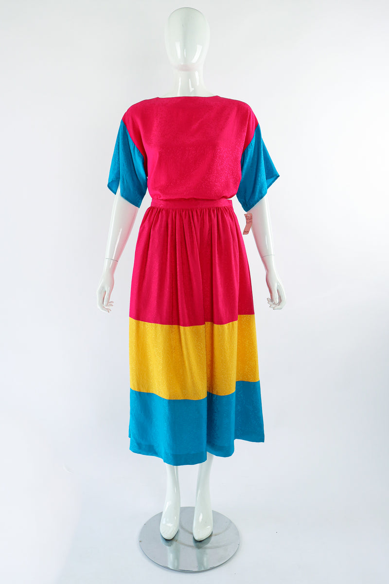 Vintage Neiman Marcus deadstock Silk Tiered Top & Skirt Set on Mannequin Front at Recess LA