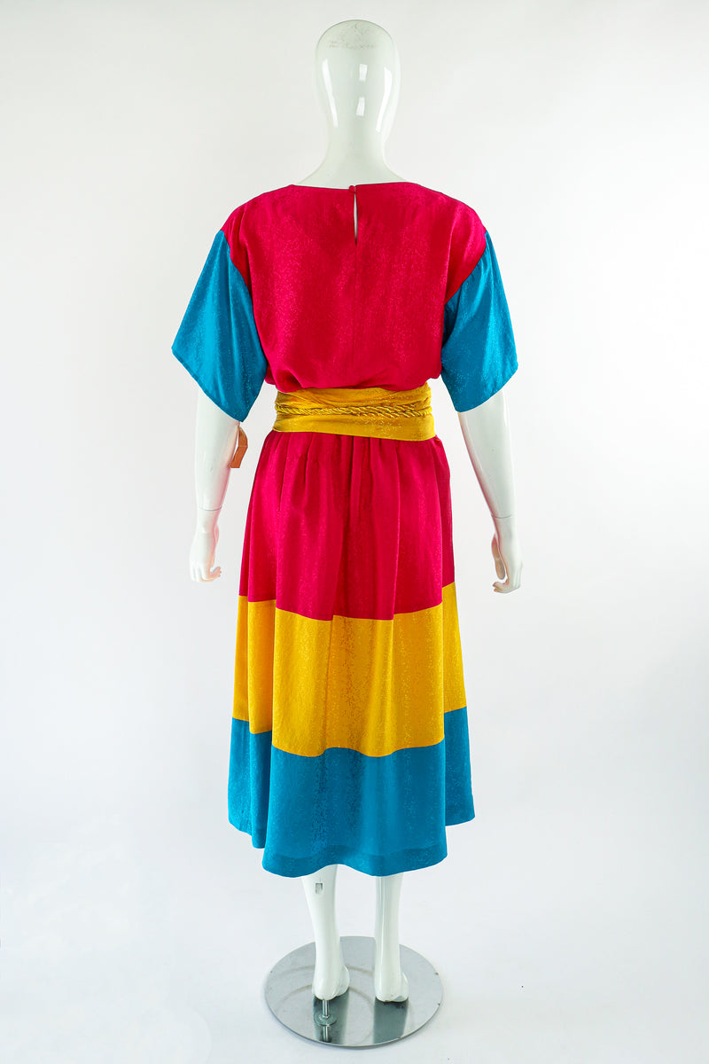Vintage Neiman Marcus deadstock Silk Tiered Top & Skirt Set on Mannequin Back at Recess LA
