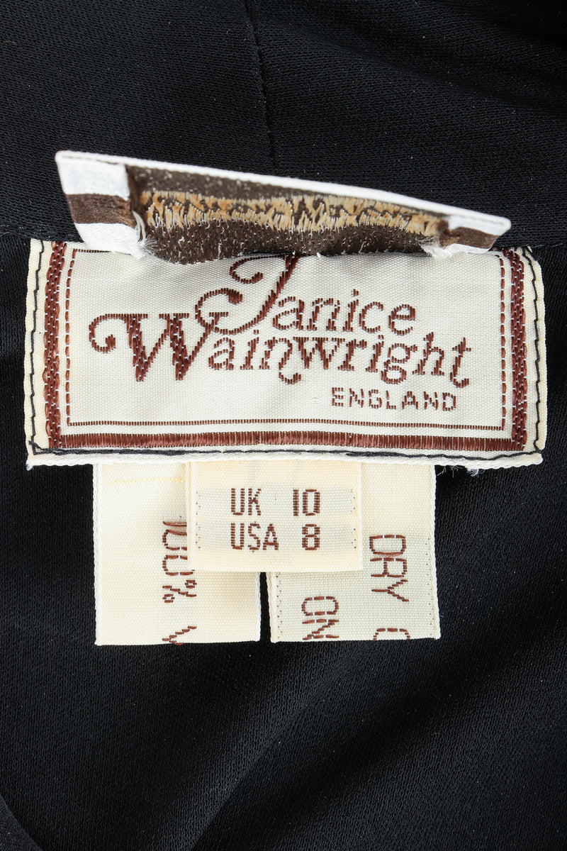 Vintage Janice Wainwright Crepe Jersey Set label on black