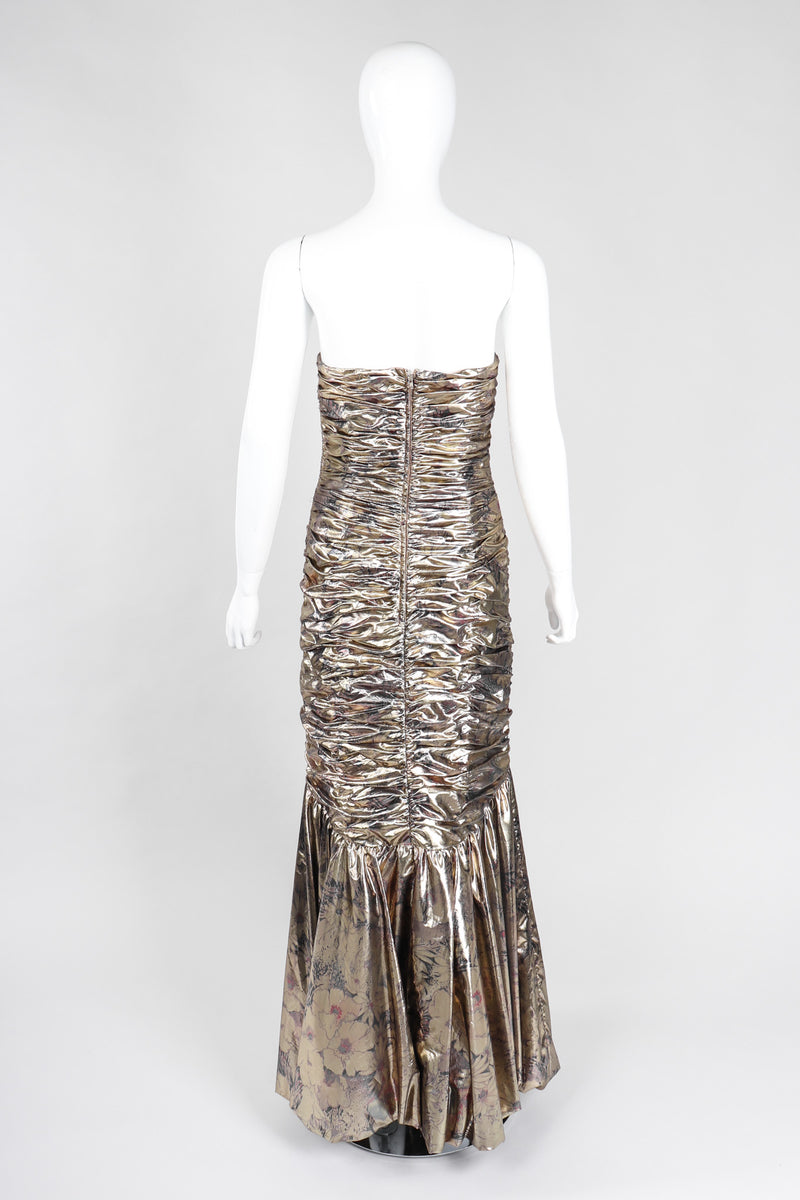 Recess Los Angeles Vintage Neiman Marcus Ruched Liquid Gold Lamé Gown