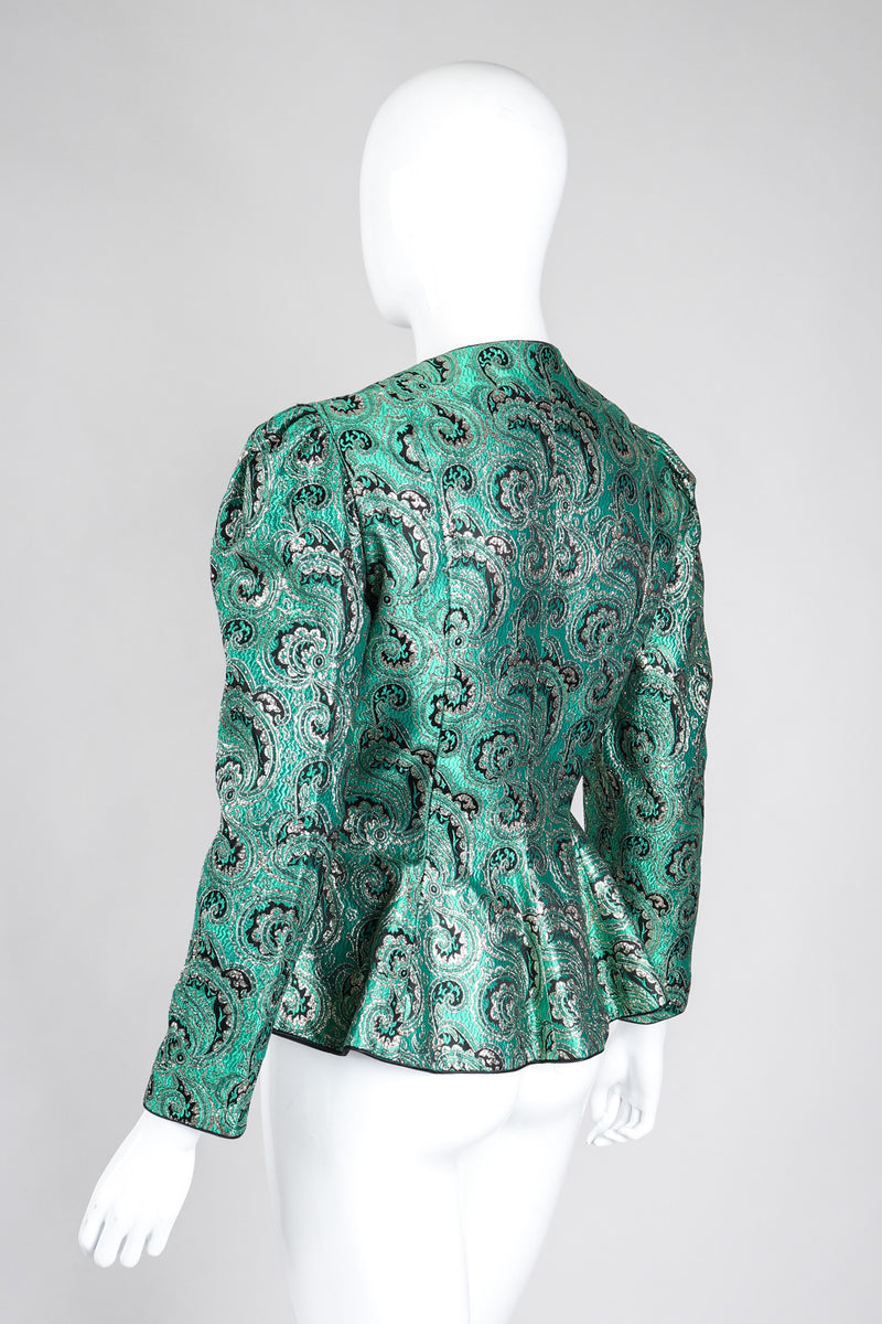 Recess Los Angeles Vintage Neiman Marcus Emerald Jeweled Brocade Peplum Jacket