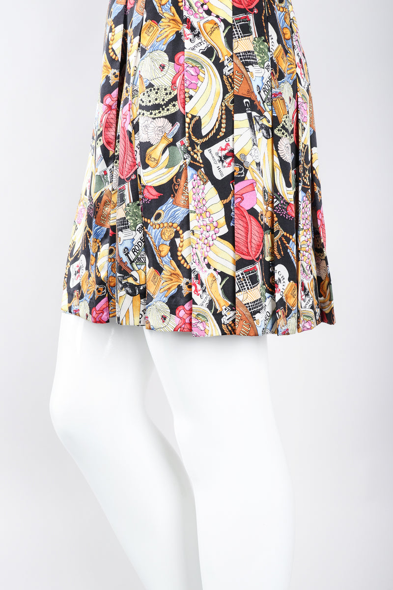 Recess Los Angele Designer Consignment Vintage Nicole Miller Giorgio Beverly Hills Print Pleated Wrap Skirt