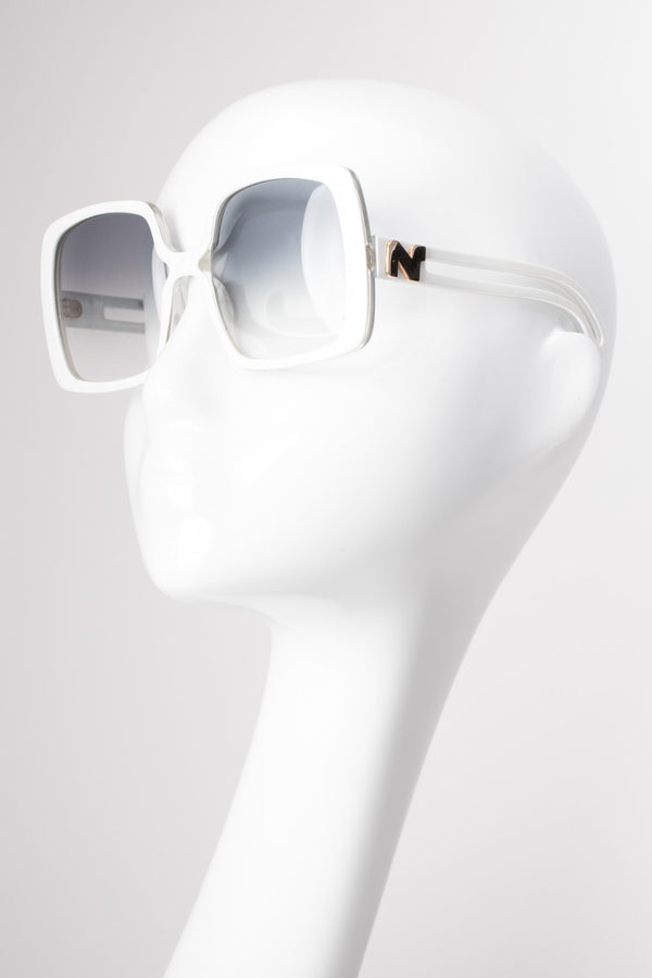 Nina Ricci Vintage Oversized White Square Outline Sunglasses