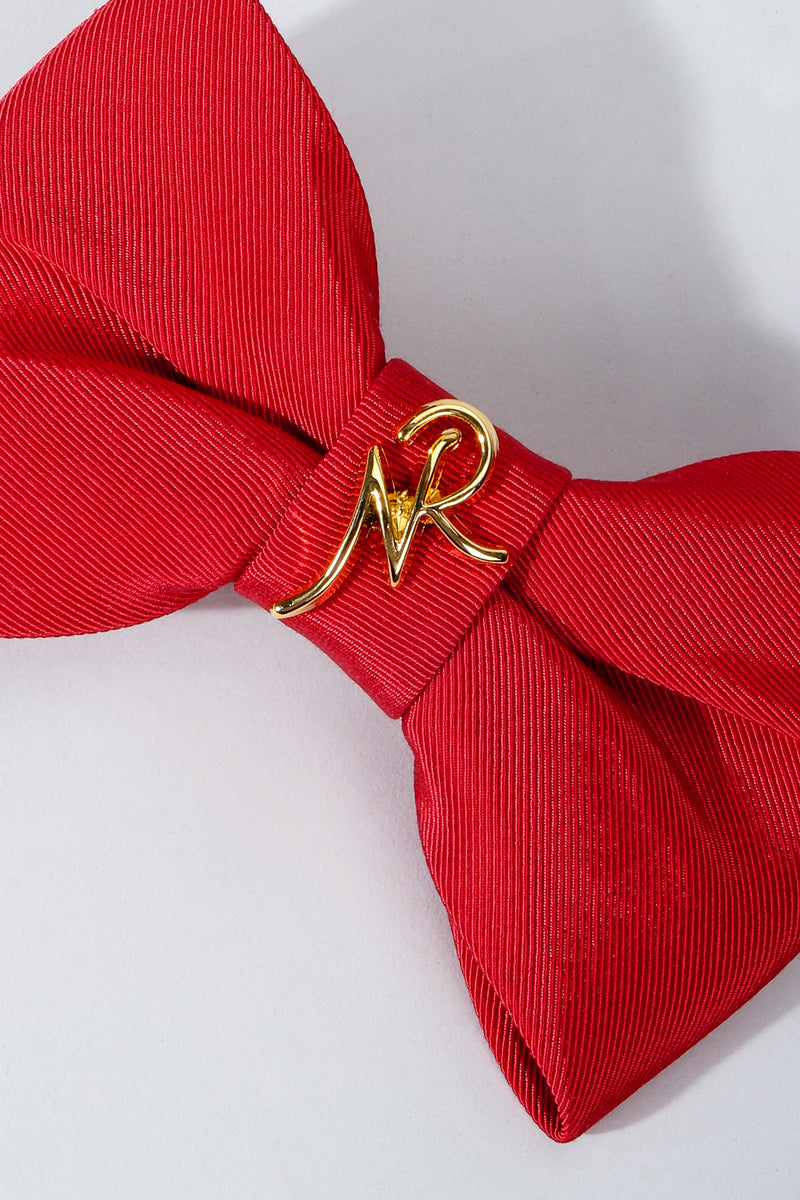 Vintage Nina Ricci Red Logo Bow Barrette Hair Clip on Grey at Recess Los Angeles Cropped