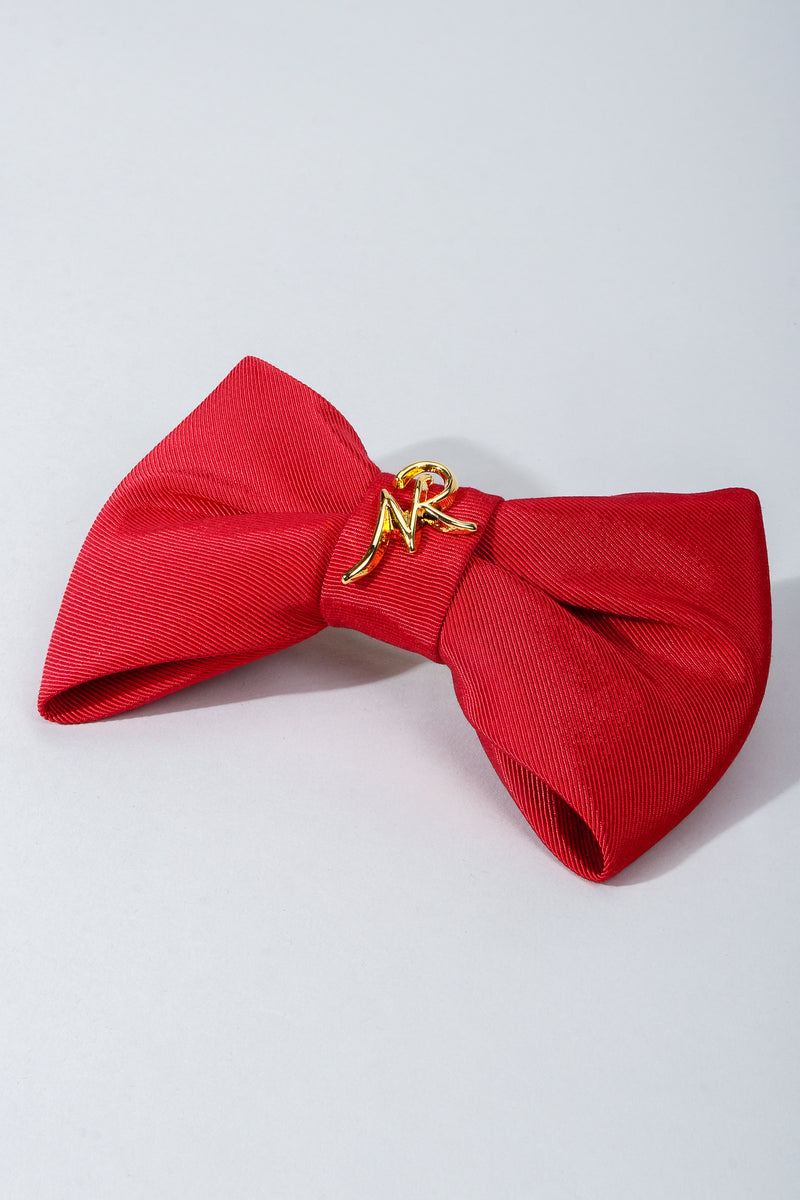 Vintage Nina Ricci Red Logo Bow Barrette Hair Clip on Grey at Recess Los Angeles