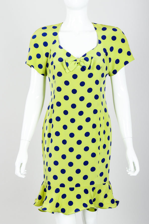 Vintage Nipon Petites Polka Dot Flounce Dress on Mannequin front crop at Recess Los Angeles