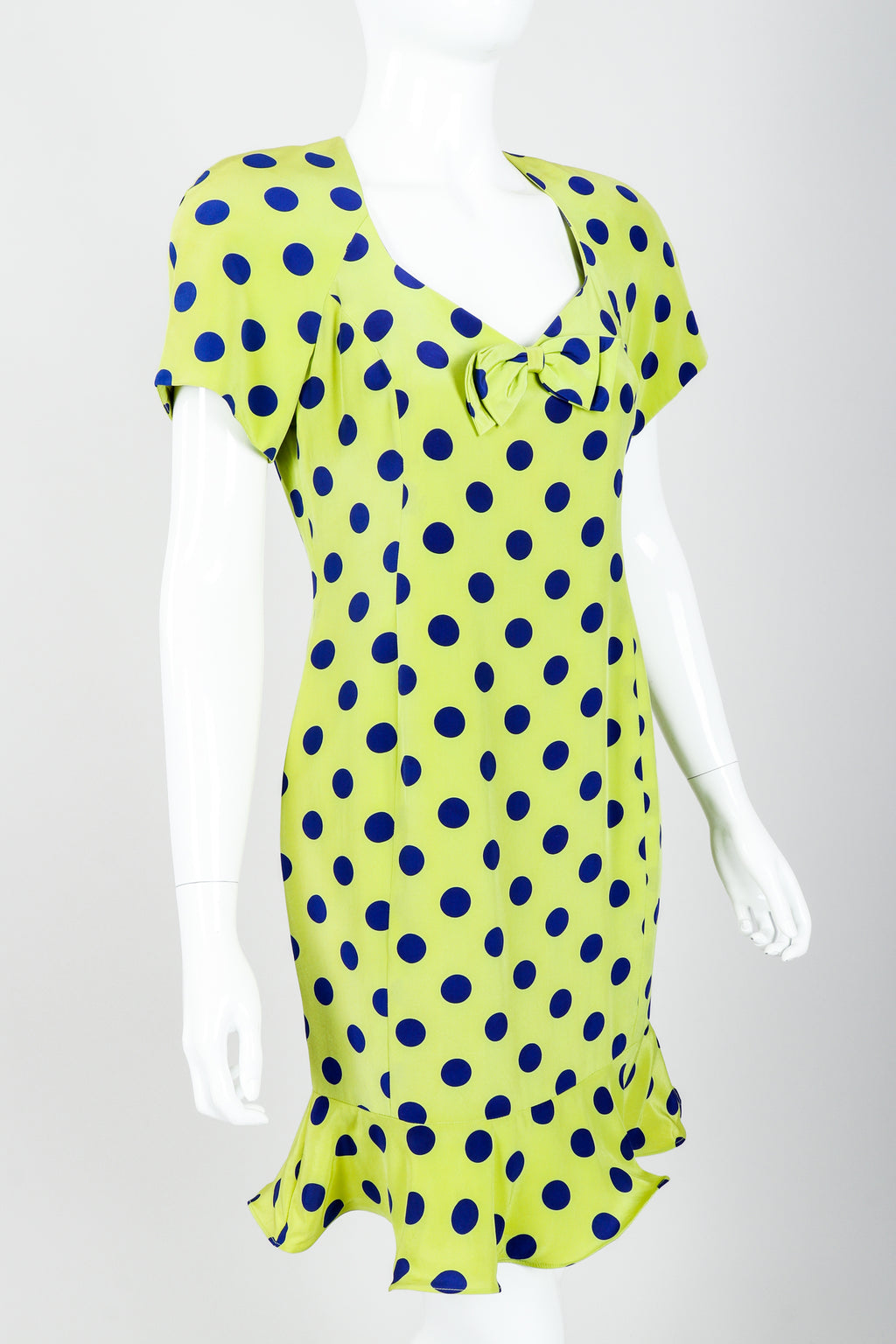 Vintage Nipon Petites Polka Dot Flounce Dress on Mannequin angle crop at Recess Los Angeles