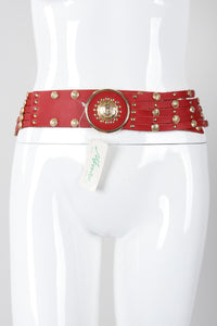 Recess Los Angeles Vintage Nitanova Medusa Medallion Leather Contour Strip Belt