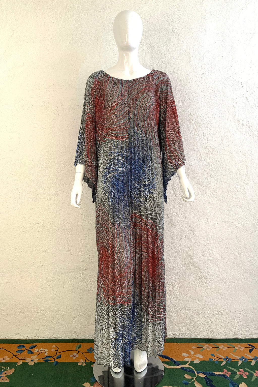 Vintage Nite N' Day by Georgie Keyloun Metallic Pleated Caftan on Mannequin Front at Recess