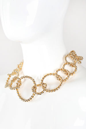 Recess Los Angeles Vintage Gold Twisted Rope Link Collar Necklace