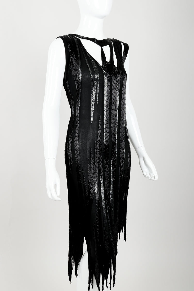 Vintage Asymmetrical Beaded Flame Cocktail Dress on Mannequin angled at Recess Los Angeles