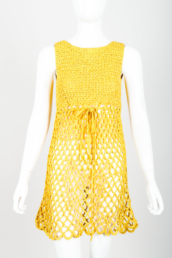 Vintage Crochet Net Dress Swim Coverup on Mannequin front crop at Recess Los Angeles