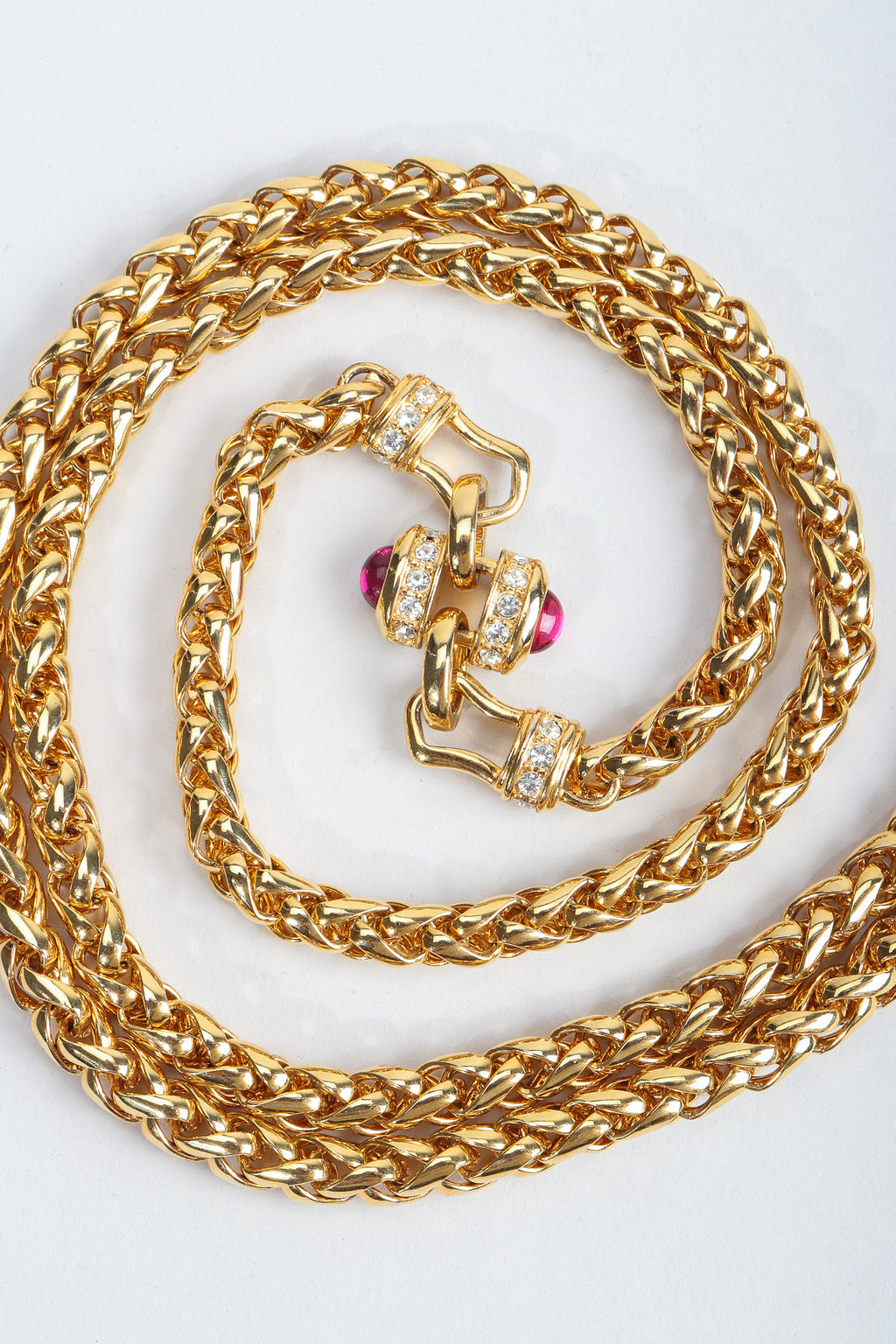 Vintage Nolan Miller Pink Jeweled Cabochon Spiga Gold Chain Necklace swirl at Recess
